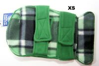 AKC American Kennel Club XS Dog Fleece Coat Reversible Green to Plaid Polyester