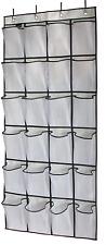 MISSLO Over the Door Hanging Shoe Organiser 24 Large Mesh Storage Pockets White