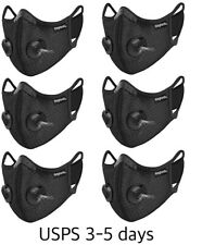 Face Mask With 4x Active Carbon Filter Breathing Valves Reusable Washable
