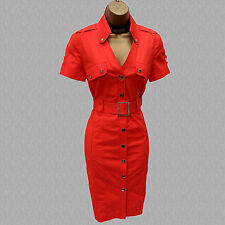 Size 10 UK Karen Millen Orange Military Safari Trench Shirt Style Pencil Dress