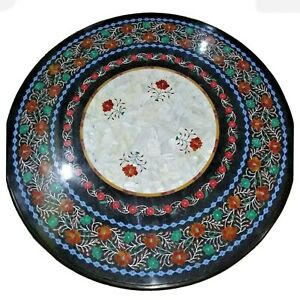 """36"""" Marble Dining Table Top Inlay Rare Semi Round Center Coffee Table AR0884"""