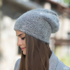 Dark Gray Womens Cashmere Wool Knitted Beanie Slouchy Skull Hat Winter Cap Y88