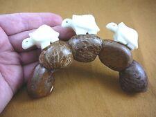 TNE-T-TUR-47A) 3 TURTLE TAGUA NUT Figurine Carving Vegetable BRIDGE love turtles
