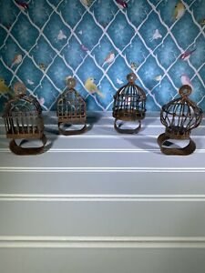 Pottery Barn Rusty Birdcage Napkin Rings Set of 4 Rustic Old World Dining Rare