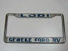 Lodi Geweke Ford RV License Plate Frame Dealership Holder Vintage Tag Rare Old