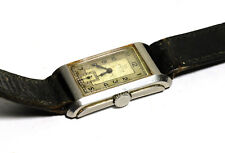 Original Vintage 1930's Art Deco Omega Steel Rectangular Wrist Watch Cal. T17
