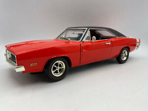 Hot Wheels 1969 Dodge Charger R/T 1/18 Scale Diecast Red Black White