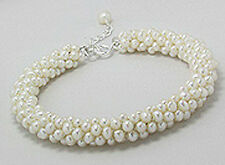 """8-9.5"""" Gorgeous Pearl on Leather Bracelet with Sterling SIlver Handmade"""