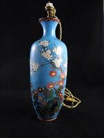 ANCIENNE LAMPE CHINE EMAIL CLOISONNEE BLEU DECOR FLORAL ORIENTAL VINTAGE C480