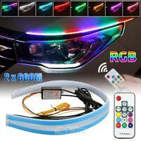 2X 60CM RGB Slim Sequential Flexible LED DRL Turn Signal Strip Remote Headlight