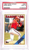 1988 Topps Tiffany Baseball Card_#460 Ozzie Smith_PSA MINT 9_Cardinals_HOF