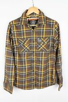 Superdry Men Casual Shirt Brown Check Cotton size M