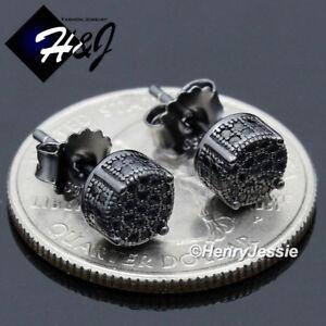 MEN WOMEN 925 STERLING SILVER ICY DIAMOND 6MM BLACK ROUND 3D STUD EARRING*BE179