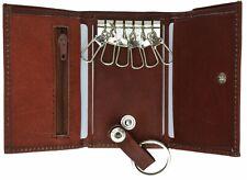 Genuine Leather Men's Key Holder Accessory 6 Key Chain Wallet Case Burgundy