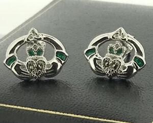 Sterling Silver 925 Claddagh Detail Stud Earrings