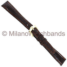 13mm Hirsch Royal Reptile Genuine Lizard Brown Ladies Stitched Watch Band