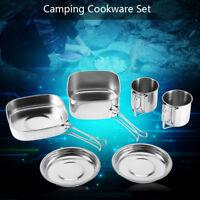 6 Pcs Stainless Steel Camping Cookware Cooking Picnic Bowl Pot Pan Set Outdoor