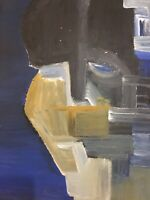 Peinture Géométrique Sur Papier Carton Gouache Portrait 1980 En Recto Verso