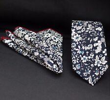 Tie Neck tie with Handkerchief Slim Dark Blue/ White Floral Quality Cotton MTA13