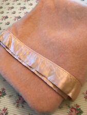"""Vintage Kenwood Dusty Peach Fluffy Wool Blanket SOFT Satin Trim 75""""x 82"""""""