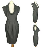 Zara Grey Smart Work Office Pleat Stretch Cowl Sleeve Pencil Tulip Dress XS 6/8