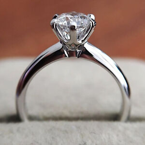2.0 Ct Round Cut DVVS1 Moissanite Engagement Ring In Solid 14k White Gold Plated