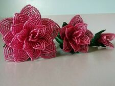 New 3 handmade French beaded Flowers rose Large medium small rose dusty rose