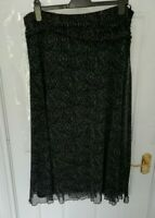❤ PER UNA Ladies Size 18 Black White Stretchy Skirt Mesh Style Lined Monochrome