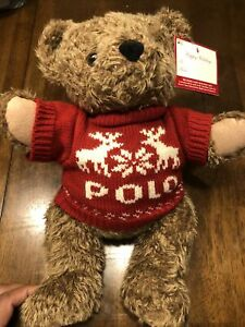 Ralph Lauren Polo Teddy Bear Plush Red Knit Fair Isle Sweater 1998 New w/ Tag