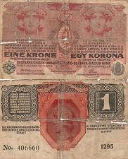 UNA CORONA -  EINE KRONE - EGY KORONA  BANCONOTA BANK AUSTRIA - UNGHERIA 1916