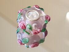 Murano Glass Charm Bead - Pink Garland