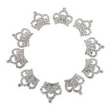 10x Silver Rhinestone Crown Shape Flatback Embellishment Scrapbooking Button