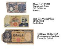 BANCONOTA DA 5 LIRE MATRICE LATERALE 14 10 1917 con 2 x 1000 testina e Verdi 1°