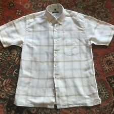 Linea Men's White Check Short Sleeve Cotton Linen Shirt With Pocket Medium