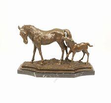 9973337-dss Bronze Skulptur Stute mit Fohlen Pferd