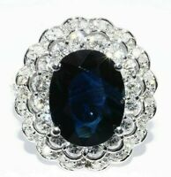 $10,000 6.68CT AGL CERTIFIED NATURAL BLUE SAPPHIRE & DIAMOND ENGAGEMENT RING 14K
