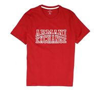Armani Exchange Mens T-Shirt White Red Size XL Logo Crewneck Embroider $50 018
