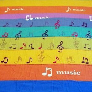 Musical Notes Rainbow Striped Twin Bed Flat Sheet Music Treble Clef