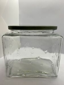 Vintage Glass Canister Stars Square Jar Clear with Green Metal Lid