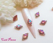Nail Art Diamante Rhinestone Silver Frame Pink AB Diamond Jewel Gem Alloy Metal