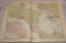 1911 Cram Antique Color Map/Central America, b/w Bermuda Islands