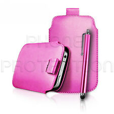 LEATHER PULL TAB CASE COVER POUCH AND STYLUS FITS VARIOUS SAMSUNG PHONES/MOBILES