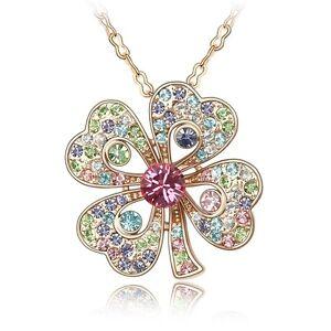 18K Rose Gold Plated Made With Swarovski Crystal Sweet 4 Leaf Clover Necklace
