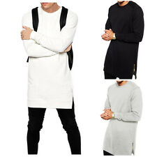 UK STOCK Men's Casual Harem Longline Hoodie Long Sleeve Crew Neck T-shirt Tops
