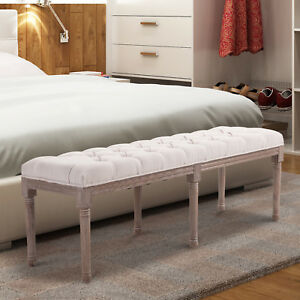 Stool Bench Chic Button Tufted 3 Person Bedside Seat End Hallway Linen Beige