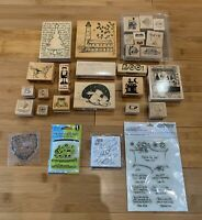 Wood Block Mounted Rubber Stamps Lot of 25 - Christmas, Halloween, Animals