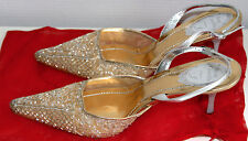 Shoes - Silver & Gold embroidered René Caovilla Ladies Evening Heels