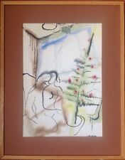 Jean LAUTHE milieu XXe.Couple devant le sapin.Encre et pastel.SBD.1948.35x25.