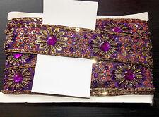 Joyas púrpuras Lentejuelas indio Pastel de Bodas Baile Disfraz Cinta de Malla de diamantes de imitación