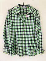 Fat Face Green White Check Pattern Cotton Long Sleeve Shirt Size 12 A0122